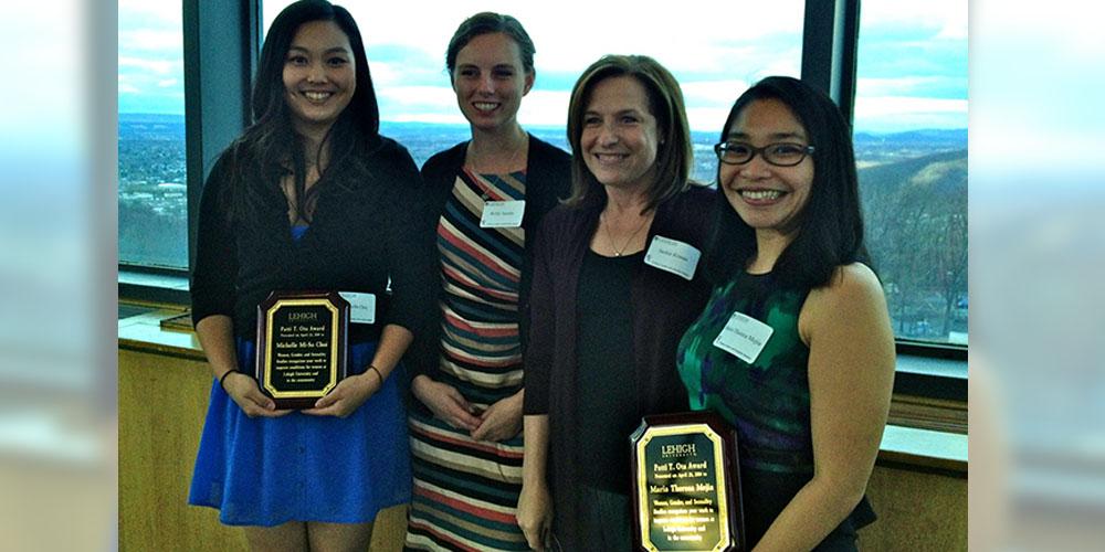 Lehigh University Sociology and Anthropology - Michelle Choi, Prof. Kelly Austin, Prof. Jackie Krasas and Theresa Mejia at Patti Ota awards dinner
